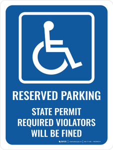 Reserved Parking Permit Required Portrait - Wall Sign