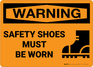 Warning: PPE Safety Shoes - Wall Sign