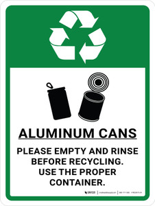 Aluminum Cans Recycle - Please Empty and Rinse Portrait - Wall Sign