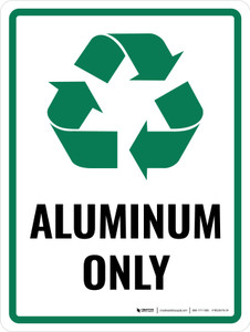 Aluminum Only with Recycle Icon Portrait - Wall Sign