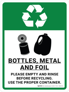 Bottles, Metal and Foil Recycle with Icons Portrait - Wall Sign