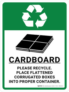 Cardboard Recycle with Icon Portrait - Wall Sign
