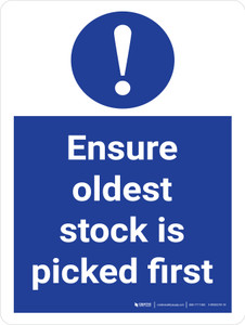 Ensure Oldest Stock Is Picked First Stock Management Portrait - Wall Sign