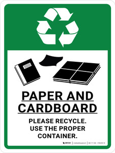 Paper & Cardboard Recycle Portrait - Wall Sign