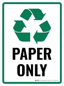 Paper Only Green with Icon Portrait - Wall Sign