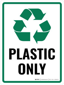 Plastic Only Green with Icon Portrait - Wall Sign