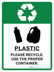 Plastic Recycle - Use Proper Container Green with Icon Portrait - Wall Sign