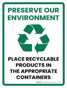 Preserve Our Environment Portrait - Wall Sign