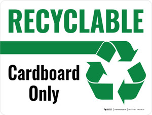 Recyclable Cardboard Only Green with Icon Landscape - Wall Sign