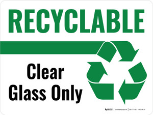 Recyclable Clear Glass Only Green with Icon Landscape - Wall Sign