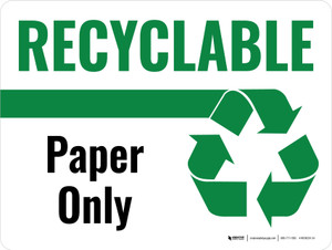 Recyclable Paper Only Green with Icon Landscape - Wall Sign