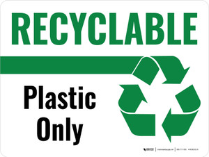 Recyclable Plastic Only Green with Icon Landscape - Wall Sign