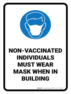 Non-Vaccinated Individuals Must Wear Mask When In Building with Icon Portrait - Wall Sign