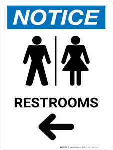 Notice: Restrooms Left With Icon - Wall Sign