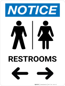 Notice With Arrows And Icon Male Left Female Right - Wall Sign