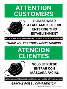 Attention Customers: Please Wear a Face Mask - Face Mask Not Required with Proof of Vaccination - Bilingual with Icon Portrait - Wall Sign