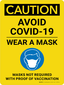 Caution: Avoid Covid-19 Wear A Mask - Masks Not Required With Proof Of Vaccination Portrait - Wall Sign