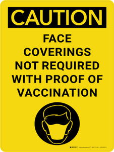 Caution: Face Coverings Not Required with Icon Portrait - Wall Sign