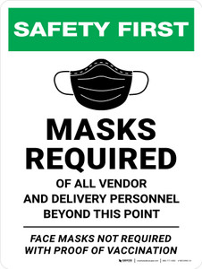 Safety First: Masks Required Of All Vendor And Delivery Personnel Beyond This Point Face Masks - Not Requied With Proof Vaccination - Wall Sign