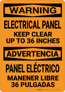 Warning: Electrical Panel Keep Clear Bilingual Spanish - Wall Sign