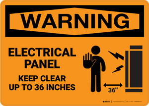Warning: Electrical Panel Keep Clear 36 Inches With Graphic - Wall Sign