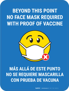 Beyond This Point No Face Mask Required With Emoji Blue Bilingual - Floor Sign