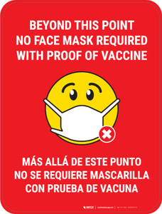 Beyond This Point No Face Mask Required With Emoji Red Bilingual - Floor Sign