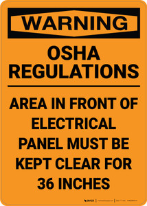 Warning: Osha Regulations Electrical Panel 36 Inches - Wall Sign