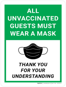 All Unvaccinated Guests Must Wear A Mask - Thank You For Understanding Green Portrait - Wall Sign