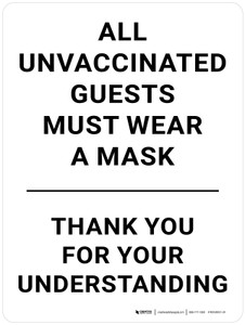All Unvaccinated Guests Must Wear A Mask - Thank You For Your Understanding Portrait - Wall Sign