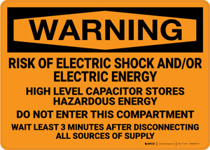 Warning: Risk Of Electric Shock Electric Energy - Wall Sign