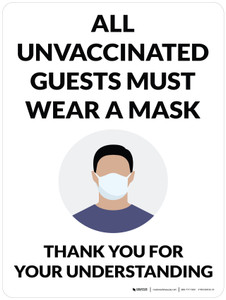 All Unvaccinated Guests Must Wear A Mask - Thank You With Graphic Portrait - Wall Sign