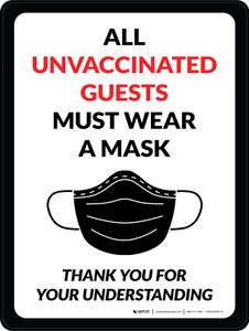 All Unvaccinated Guests Must Wear A Mask - Thank You For Your Understanding with Mask Graphic Portrait - Wall Sign