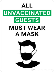All Unvaccinated Guests Must Wear A Mask With Icon Portrait - Wall Sign