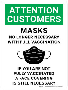Attention Customers: Masks No Longer Necessary With Full Vaccination - If You Are Not Fully Vaccinated A Face Covering Is Necessary Portrait - Wall Sign