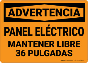 Warning: Electrical Panel Keep Clear Spanish - Wall Sign