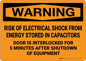 Warning: Risk of Electrical Shock from Stored Energy Door is Interlocked - Wall Sign