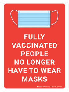 Fully Vaccinated People No Longer Have To Wear Masks with Icon Red Portrait - Wall Sign