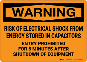 Warning: Risk of Electrical Shock from Stored Energy Entry Prohibited - Wall Sign