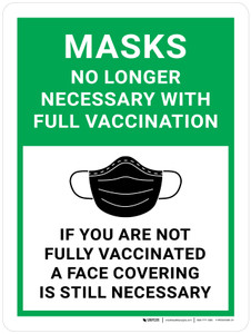 Masks No Longer Necessary With Full Vaccination - If You Are Not Fully Vaccinated A Face Covering Is Still Necessary with Icon Green - Wall Sign