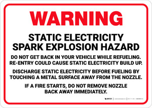 Warning: Static Electricity Spark Explosion Hazard - Wall Sign