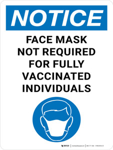 Notice: Face Mask Not Required For Fully Vaccinated Individuals Portrait - Wall Sign
