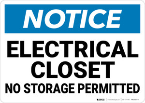 Notice: Electrical Closet No Storage Permitted - Wall Sign