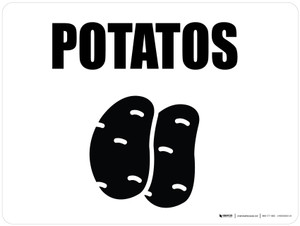 Potatos with Icon Landscape - Wall Sign