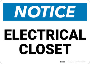 Notice: Electrical Closet - Wall Sign