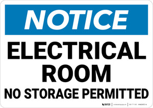 Notice: Electrical Room No Storage Permitted - Wall Sign