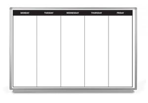 Monday - Friday Week Calendar Dry-Erase Scheduling Whiteboard
