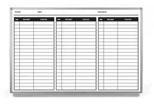 Patient Status Dry-Erase Hospital Whiteboard (Version 2)