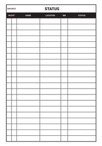 Status Chart Dry-Erase Hospital Whiteboard (Version 1)