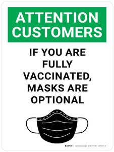 Attention: Customers If You Are Fully Vaccinated Masks Are Optional With Icon - Wall Sign